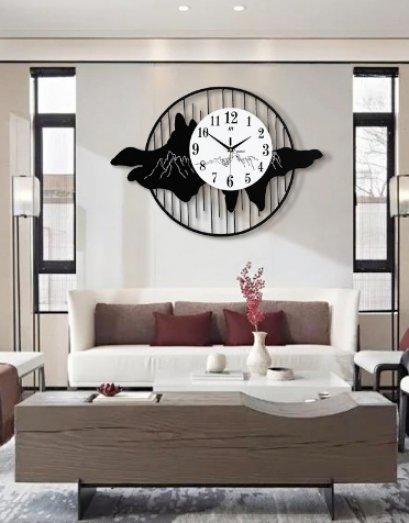 wall clock นาฬิกาทำจากไม้โครงเหล็ก - ภูเขา