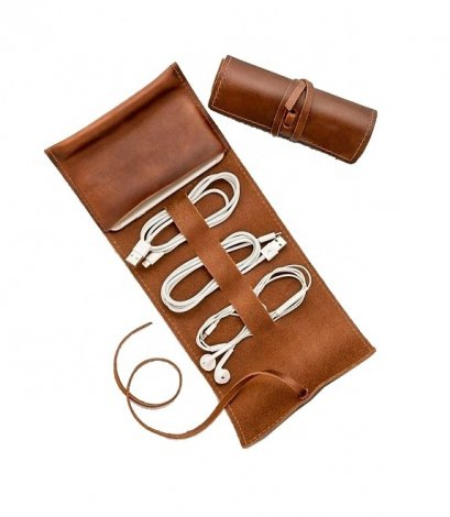 Leather Charger Roll Up Case