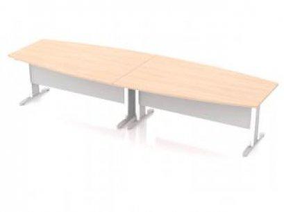 โต๊ะประชุมทรงเรือขาเหล็กขนาดใหญ่