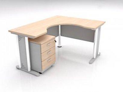 โต๊ะทำงานตัวแอลขาเหล็กทรงโค้ง