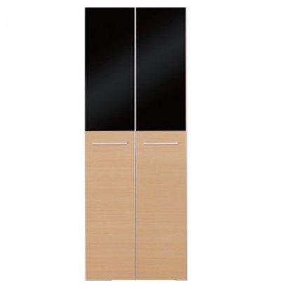 หน้าบานเปิดคู่ กระจกดำบน-ไม้ล่าง