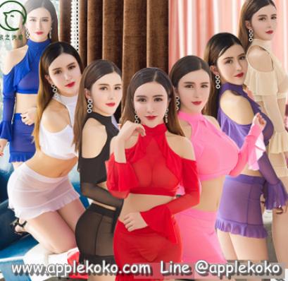 [[พร้อมส่ง]] ชุดแฟนซี cosplay ชุดผ้ายืดซีทรู เนื้อนิ่มแขนยาวเว้าไหล่ กระโปรงทรงสอบ