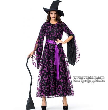 [[พร้อมส่ง]] ชุดแฟนซี ชุดฮาโลวีน ชุดปีศาจในคืน ฮาโลวีน Halloween night ชุดแม่มด สีม่วง