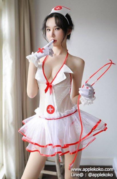 [[พร้อมส่ง]] ชุดแฟนซี cosplay ชุดคอสเพลย์ ชุดนางพยาบาล สีขาวขลิบแดง