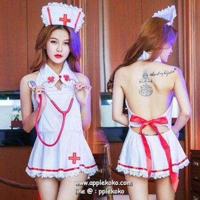 [[สินค้าหมด]] ชุดแฟนซี cosplay ชุดคอสเพลย์ ชุดนางพยาบาล สีขาวเซ็กซี่