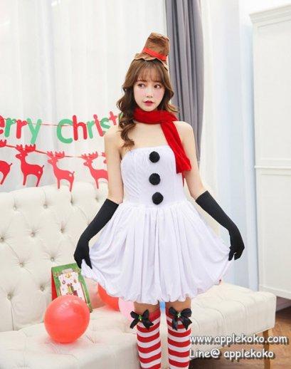[[สินค้าหมด]] ชุดแฟนซี cosplay แฟนซี คอสเพลย์ ชุดซานตาคอส ซานตี้ ชุดตุ๊กตาหิมะ