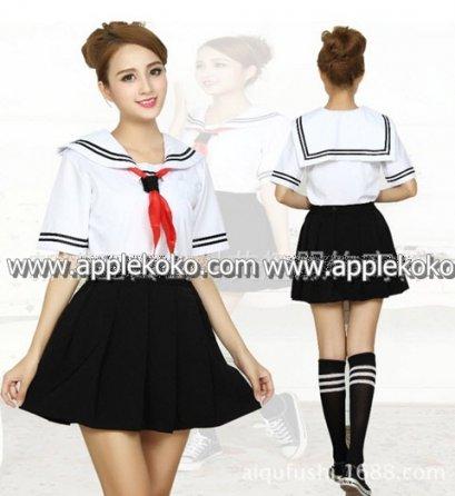 [[พร้อมส่ง]] ชุดแฟนซี cosplay ชุดนักเรียนญี่ปุ่น เนื้อผ้าดีแขนสั้นปกทหารเรือ มีขลิบดำที่แขนและปก กระโปรงดำ