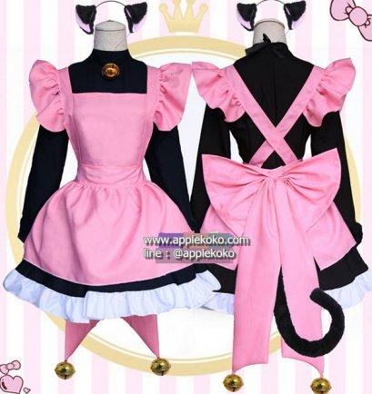 [[พร้อมส่ง]] ชุดแฟนซี cosplay ชุดคอสเพลย์ ชุดแม่บ้าน โลลิต้า lolita พนักงานเสิร์ฟ สาวเสิร์ฟ ชุดสีดำผ้ากันเปื้อนสีชมพู