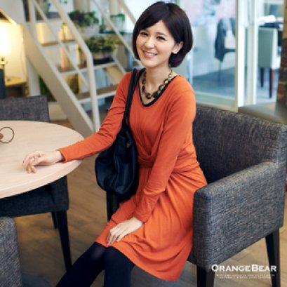 [[พร้อมส่ง] เสื้อยี่ห้อ Orange ไต้หวันชุดเดรสไขว้เอวแขนยาวเนื้อผ้าดี