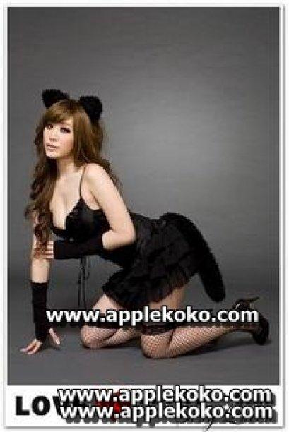 [[พร้อมส่ง]] ชุดแฟนซี คอสเพลย์ Cosplay  ชุดแมวเหมียว สีดำ สายเดี่ยวคอวีลึกกระโปรงระบาย