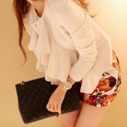 [[พร้อมส่ง]] เสื้อสูทสีขาวคอระบายสไตล์เกาหลีเนื้อผ้าดี