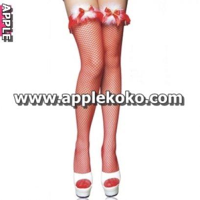 [[พร้อมส่ง]] ถุงน่องแฟนซี cosplay คอสเพลย์ ถุงน่องตาข่ายสีแดงระบายลูกไม้แดง+ขนเฟอร์สีขาว สุดเซ็กซี่