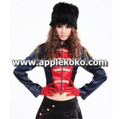 [[พร้อมส่ง]] ชุดแฟนซี cosplay คอสเพลย์ ชุดทหารอังกฤษ เสื้อแขนยาวสีน้ำเงิน-แดง+กระโปรงจับจีบสั้นสีดำ