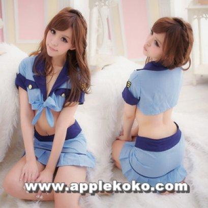 [[พร้อมส่ง]] ชุดแฟนซี cosplay คอสเพลย์ ชุดตำรวจ เสื้อตัวสั้นสีฟ้า