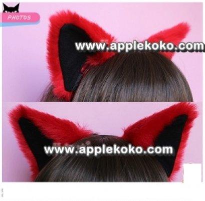 [[พร้อมส่ง]] หูแมว หูแมวคอสเพลย์ แฟนซี คอสเพลย์ cosplay แบบที่คาดผมสีแดงในดำ ขนฟู