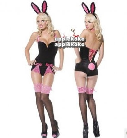 [[พร้อมส่ง]] ชุดแฟนซี cosplay คอสเพลย์ ชุดกระต่าย Bunny girl ชุดเกาะอกสีำดำ มีระบายลูกไม้สีชมพู