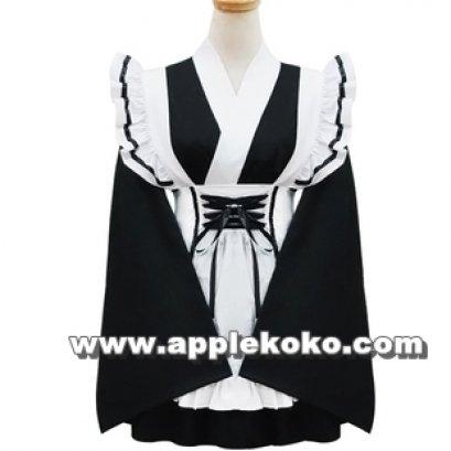 [[พร้อมส่ง]] ชุดแฟนซี cosplay คอสเพลย์ กิโมโน ชุดกิโมโน สีขาว-ดำ เนื้อผ้าดี