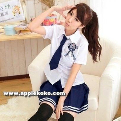 [[สินค้าหมด]] ชุดแฟนซี cosplay ชุดนักเรียนญี่ปุ่น เสื้อขาวแขนสั้น เนคไทสั้นสีน้ำเงิน+กระโปรงสีน้ำเงินขลิบขาว