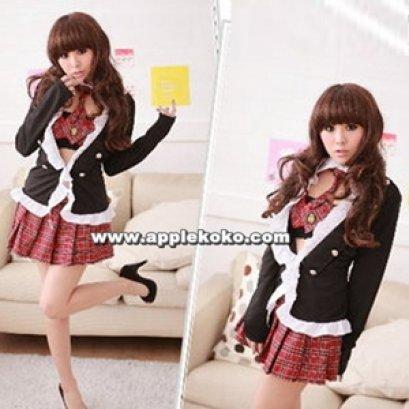[[พร้อมส่ง]]  ชุดแฟนซี cosplay ชุดคอสเพลย์ ชุดนักเรียนญี่ปุ่น เสื้อนอกแขนยาวสีดำ กระโปรงลายสก๊อตสีแดง