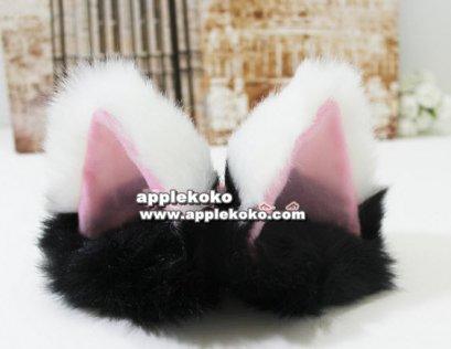 [[พร้อมส่ง]] หูแมว หูแมวคอสเพลย์ แฟนซี cosplay คอสเพลย์ หูแมวสีขาวแบบกิ๊บ หูใหญ่ สีขาวด้านในชมพูมีขนเฟอร์สีดำ