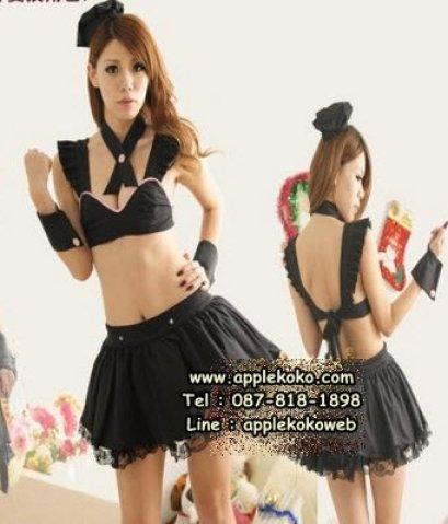 [[พร้อมส่ง]]   ชุดแฟนซี cosplay  ชุดคอสเพลย์ ชุดแม่บ้าน โลลิต้า lolita เสื้อตัวสั้น สีดำ กระโปรงดำ