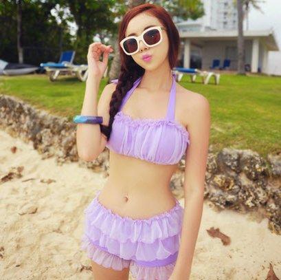 [[พร้อมส่ง]] ชุดว่ายน้ำ Bikini เอวสูง วินเทจ เสื้อ+กางเกงผสมผ้าแก้ว ดูหวาน เนื้อผ้าหนา คุณภาพผ้าดี