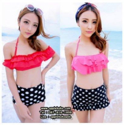 [[พร้อมส่ง]] ชุดว่ายน้ำ Bikini เอวสูง วินเทจ ชุดว่ายน้ำ เสื้อสีแดง กระโปรงระบาย เนื้อผ้าหนา คุณภาพผ้าดี