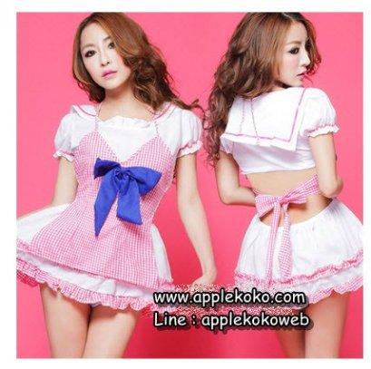[[พร้อมส่ง]] ชุดแฟนซี cosplay ชุดคอสเพลย์ ชุดแม่บ้าน โลลิต้า lolita ชุดเดรสขาวแขนตุ๊กตา ผ้ากันเปื้อนชมพูลายตาราง