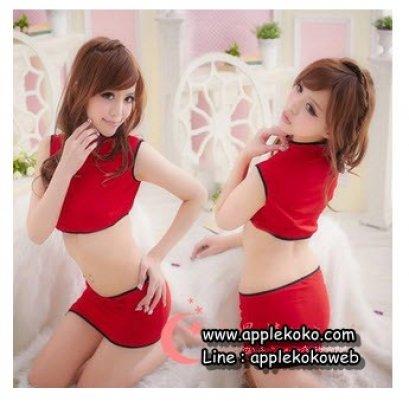 [[พร้อมส่ง]] ชุดแฟนซี cosplay ชุดคอสเพลย์ ชุดกี่เพ้าท์ เสื้อตัวสั้นสีแดง กระโปรงแดง