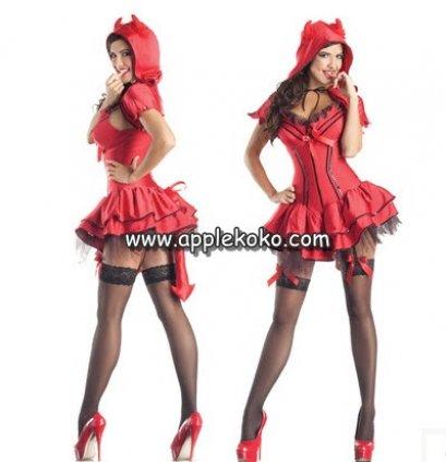 [[พร้อมส่ง]] ชุดแฟนซี ชุดฮาโลวีน ชุดปีศาจในคืน ฮาโลวีน Halloween night ชุดเดวิวสีแดง