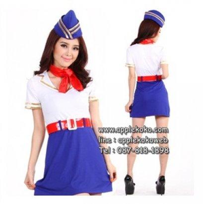 [[พร้อมส่ง]] ชุดแฟนซี cosplay ชุดคอสเพลย์ แฟนซี ชุดแอร์โฮสเตส เสื้อขาว กระโปรงน้ำเงิน เข็มขัดสีแดง