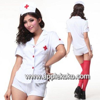 [[สินค้าหมด]] ชุดแฟนซี cosplay ชุดคอสเพลย์ ชุดนางพยาบาล เสื้อแขนสั้นกระดุมหน้า + กางเกงขาสั้น