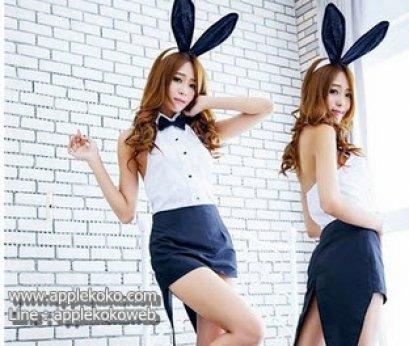 [[พร้อมส่ง]] ชุดแฟนซี cosplay ชุดคอสเพลย์ ชุดกระต่าย บันนี่ Bunny Bunnygirl ทักซิโด้ เสื้อขาว กระโปรงดำหางยาว