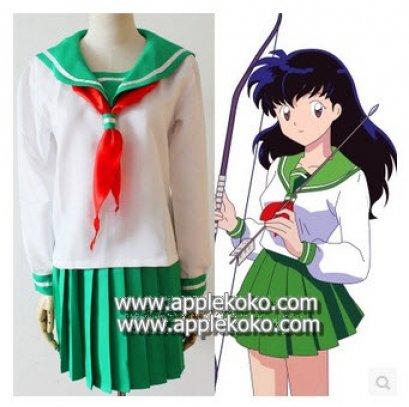 [[พร้อมส่ง]]  ชุดแฟนซี cosplay ชุดคอสเพลย์ ชุดนักเรียนญี่ปุ่น เสื้อปกกะลาสี สีเขียว กระโปรงเขียว