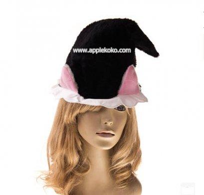 [[พร้อมส่ง]]  หูแมวติดกับหมวกสีดำ มีระบายสีขาวด้านล่าง