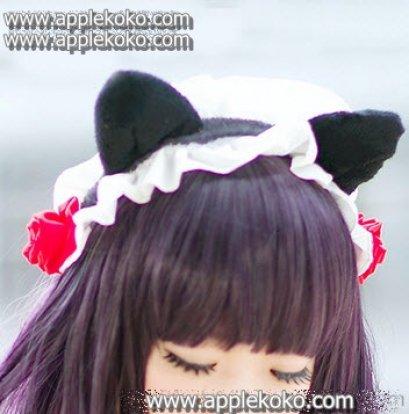 [[พร้อมส่ง]] หูแมว หูแมวคอสเพลย์ แฟนซี cosplay คอสเพลย์ หูแมวมีระบายสีขาว+ดอกไม้สีแดง
