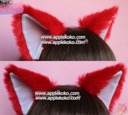 [[พร้อมส่ง]] หูแมว หูแมว คอสเพลย์ แบบที่คาดผม สีแดงหูในสีขาว