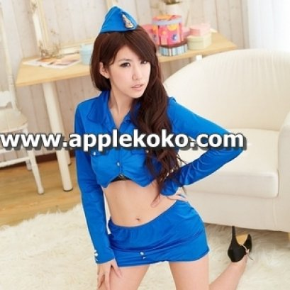 [[พร้อมส่ง]] ชุดแฟนซี cosplay ชุดแอร์โฮสเตส สีน้ำเงินเสื้อตัวสั้นคอวีลึก กระโปรงเข้ารูป