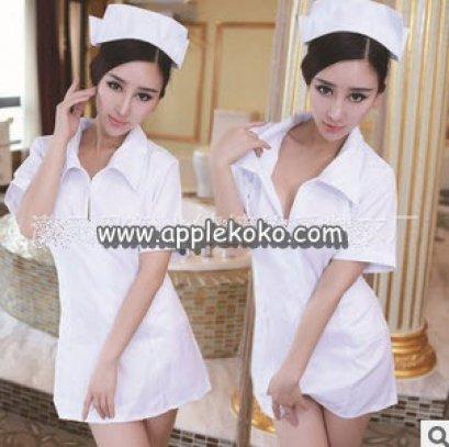 [[สินค้าหมด]] ชุดแฟนซี cosplay  ชุดคอสเพลย์ ชุดพยาบาล สีขาวซิปหน้าผูกโบว์ด้านหลัง