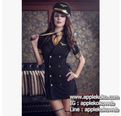 [[สินค้าหมด]] ชุดแฟนซี cosplay ชุดคอสเพลย์ แฟนซี แอร์โฮสเตส ชุดกัปตันหญิง เดรสดำขลิบทองที่แขนกระดุมสองแถว