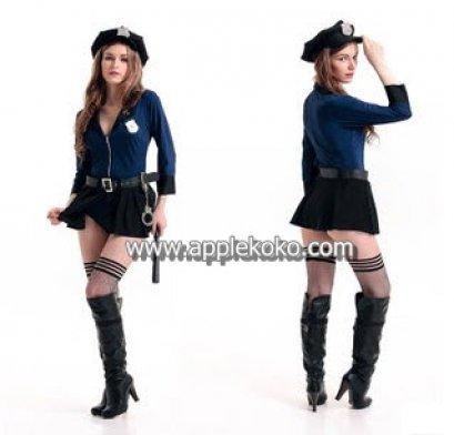 [[พร้อมส่ง]] ชุดแฟนซี cosplay ชุดคอสเพลย์ ชุดตำรวจ Police จั๊มสูทเสื้อสีน้ำเงินกางเกงสีดำ มีกระโปรงคลุมอีกชั้นนึง