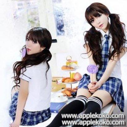 [[พร้อมส่ง]] ชุดแฟนซี cosplay ชุดนักเรียนญี่ปุ่น แฟนซี ชุดนักเรียน เสื้อแขนสั้นแบบไท้ กระโปรงสก๊อตน้ำเงินขาว