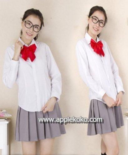 [[พร้อมส่ง]] ชุดแฟนซี cosplay ชุดนักเรียนญี่ปุ่น แฟนซี ชุดนักเรียน เสื้อแขนยาวโบว์แดง กระโปรงสีเทา