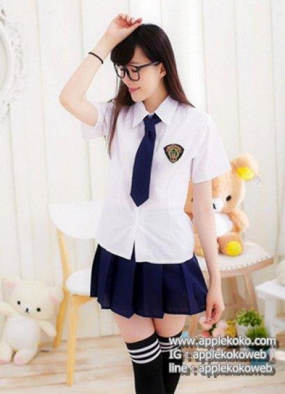[[สินค้าหมด]] ชุดแฟนซี cosplay ชุดนักเรียนญี่ปุ่น แฟนซี ชุดนักเรียน เสื้อขาวแขนสั้น ไท้สีกรม กระโปรงกรมท่า