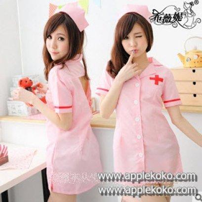 [[สินค้าหมด]] ชุดแฟนซี cosplay ชุดคอสเพลย์ ชุดนางพยาบาล สีชมพู กุ๊ดขอบสีแดง