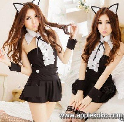 [[พร้อมส่ง]] ชุดแฟนซี cosplay ชุดคอสเพลย์ แมวเหมียว สีดำ เซ็กซี่