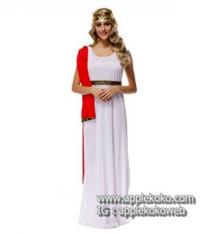 [[พร้อมส่ง]] ชุดแฟนซี cosplay คอสเพลย์ Greek ชุดเทพเจ้ากรีก ชุดยาวสีขาว ไหล่มีผ้าสีแดง