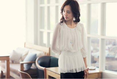 [[พร้อมส่ง]] SZ เสื้อผ้าชีฟองเกาหลี แขนยาว จั๊มเอว มีสีขาว สีชมพู สีApricot