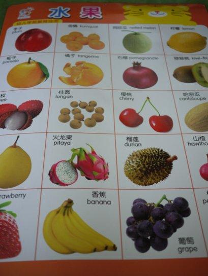 โปสเตอร์คำศัพท์ภาษาจีนหมวดผลไม้ต่างๆ