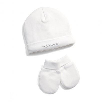 Hello World' Hat & Mitts - 2 Piece Set